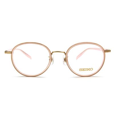 SEIKO 知性の鈦 粉嫩糖霜復古橢圓框眼鏡 ▏透粉金