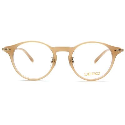 SEIKO 知性の鈦 菱鑽波士頓復古框眼鏡 ▏膚粉金