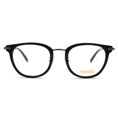 SEIKO 知性の鈦 經典菱鑽威靈頓框眼鏡 ▏亮黑槍