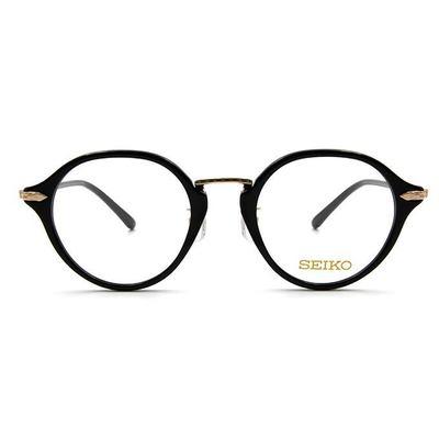 SEIKO 知性の鈦 幾何菱鑽復古圓框眼鏡 ▏金黑