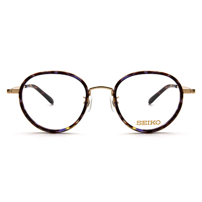 SEIKO 知性の鈦 小菱點刻印復古圓框眼鏡 ▏絢貝紫