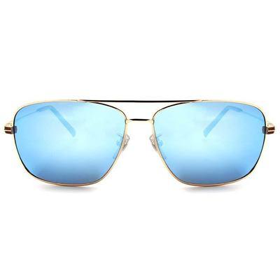 HORIEN 男士雙槓細邊飛官方框墨鏡 │棕金藍