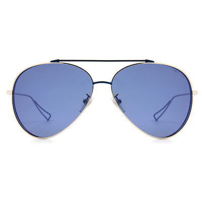 HORIEN 雙甲簍空科幻飛官框墨鏡 │銀藍