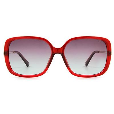 HORIEN 幾何雙槓時尚款墨鏡大方框墨鏡 │酒紅