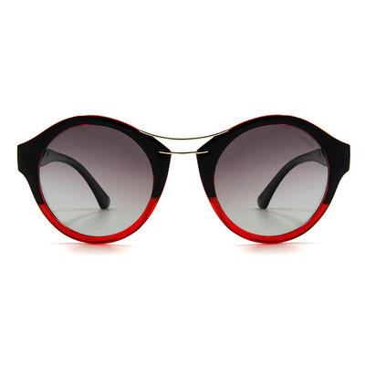 HORIEN 前衛設計雙彎槓貓眼圓框墨鏡 │漸黑紅