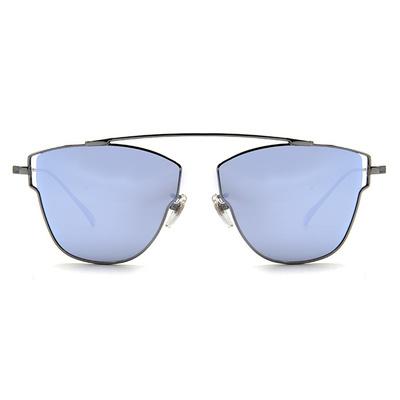 HORIEN 銀框墨鏡 紫膜前衛多邊款墨鏡倒三角框墨鏡 │古銅銀/紫