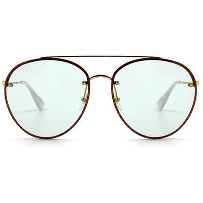 GUCCI 春夏新款眼鏡墨鏡 浪漫摯愛典雅星砂飛官框眼鏡墨鏡 ✦金蔥栗
