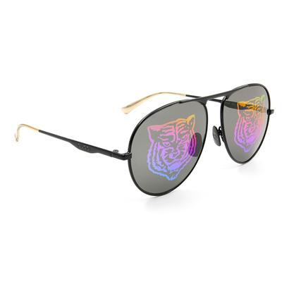 GUCCI 2018春夏新款墨鏡 狂野迷戀雷射虎紋鏡面飛官框墨鏡 ✦叢林黑