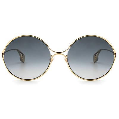 GUCCI 春夏新款眼鏡墨鏡 設計師金色珠徽廣告款墨鏡-金屬圓框眼鏡墨鏡 ✦雋永黑