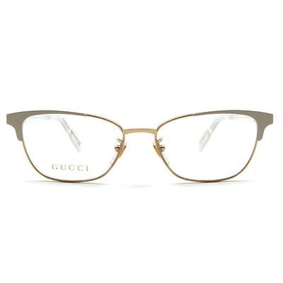 GUCCI 2018春夏新款眼鏡 純粹優雅精緻眉型方框眼鏡✦鋼琴白/金