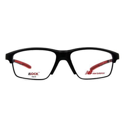 New Balance ELOCK 雙質交界N標眉框眼鏡✦霧黑/熱血紅