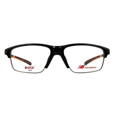 New Balance ELOCK 雙質交界N標眉框眼鏡✦亮黑/活力橘