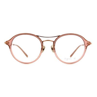 agnès b. 晶漾單桿貓眼套圈框眼鏡 ◆嬌柔粉