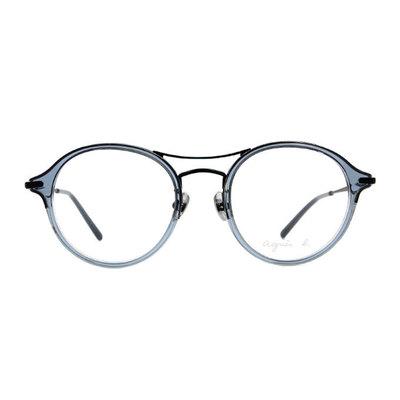 agnès b. 沉穩單桿貓眼套圈框眼鏡 ◆灰綠