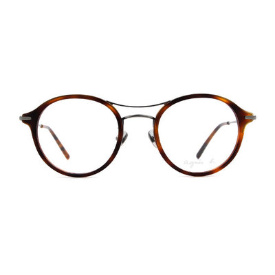 agnès b. 復古單桿貓眼套圈框眼鏡 ◆玳瑁棕