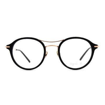 agnès b. 復古單桿貓眼套圈框眼鏡 ◆柏金黑