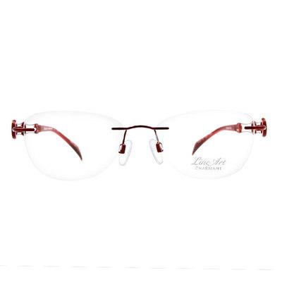 LineArt CHARMANT 波浪雙色圓環無框眼鏡款眼鏡◆金屬紅