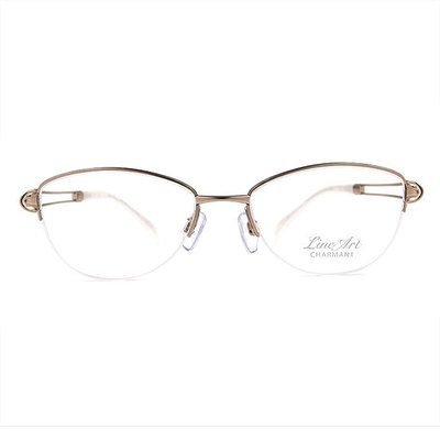 LineArt CHARMANT 氣質淑女簍空橢圓框眼鏡◆雅緻銀