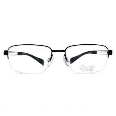 LineArt CHARMANT 網域線條俐落長方框眼鏡◆低調黑