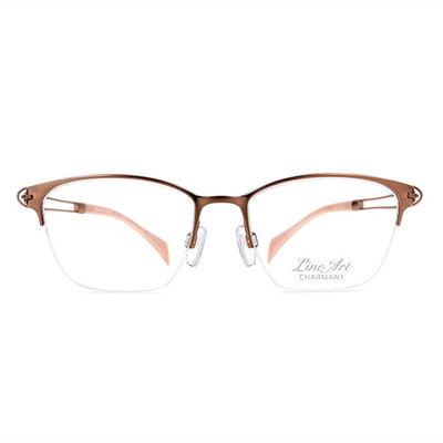 LineArt CHARMANT 簡約簍空設計眉架框眼鏡◆玫瑰金
