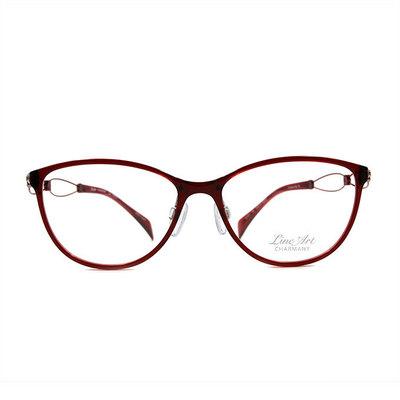 LineArt CHARMANT 優雅奏鳴曲微貓眼框眼鏡◆薔薇紅