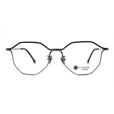 K-DESIGN K PLUS 美麗邊界拼色多角框眼鏡◆雅趣銀
