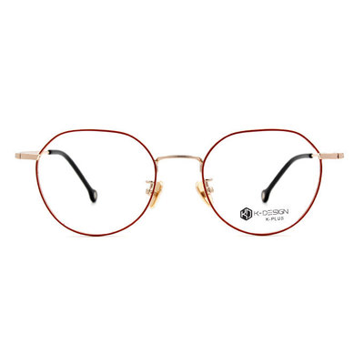 K-DESIGN K PLUS 俏皮的時光多角框眼鏡◆玫瑰澄