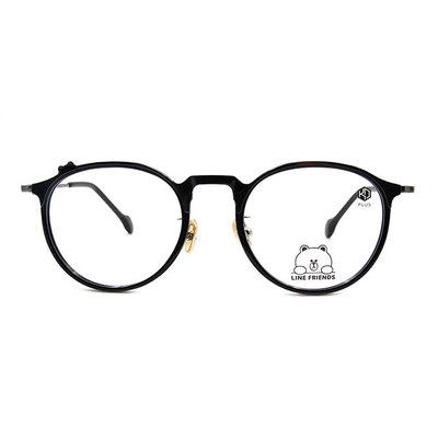 K-DESIGN | LINE FRIENDS◆微貓眼復古粗框眼鏡-炭晶黑(熊大銀鑄)
