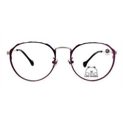 K-DESIGN | LINE FRIENDS◆波浪邊圓框眼鏡-銀光紫(熊大金鑄)