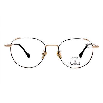 K-DESIGN | LINE FRIENDS◆造型梨圓框眼鏡-黑糖名媛金(兔兔金鑄)