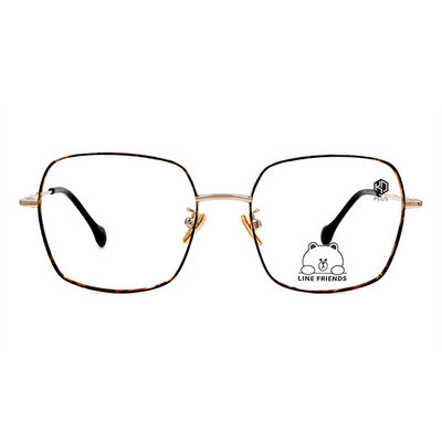 K-DESIGN | LINE FRIENDS◆金屬大方細框眼鏡-玳瑁棕/香檳金(兔兔金鑄)