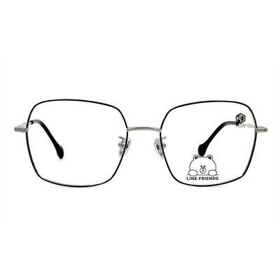K-DESIGN | LINE FRIENDS◆金屬大方細框眼鏡-亮黑/銀(兔兔銀鑄)
