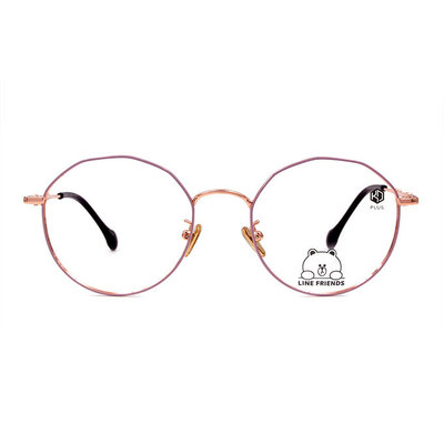 K-DESIGN | LINE FRIENDS◆彎橋細角圓框眼鏡-玫瑰金粉(兔兔金鑄)
