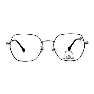 K-DESIGN | LINE FRIENDS◆六角細方框眼鏡-霧黑/紳士銀(熊大銀鑄)
