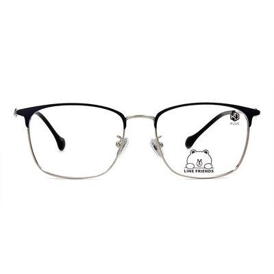 K-DESIGN | LINE FRIENDS◆中性眉方框眼鏡-銀/霧光藍(熊大銀鑄)