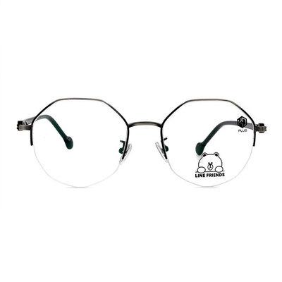 K-DESIGN | LINE FRIENDS◆多角眉框眼鏡款眼鏡-懷舊灰(熊大銀鑄)
