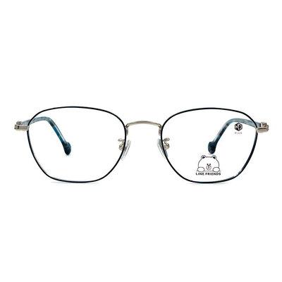 K-DESIGN | LINE FRIENDS◆金屬多邊框眼鏡-流光波紋綠(熊大銀鑄)
