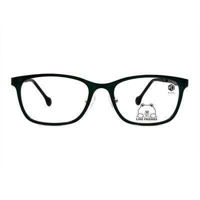 K-DESIGN | LINE FRIENDS◆長方框眼鏡-青蛙綠/亮黑(熊大銀鑄)