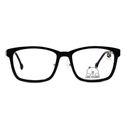 K-DESIGN | LINE FRIENDS◆粗黑方框眼鏡-亮黑/灰透黑(熊大銀鑄)
