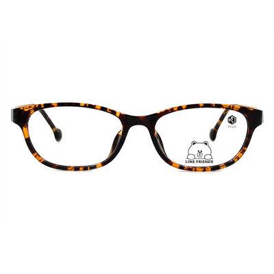 K-DESIGN | LINE FRIENDS◆橢圓扁方框眼鏡-玳瑁棕/巧透咖(熊大金鑄)