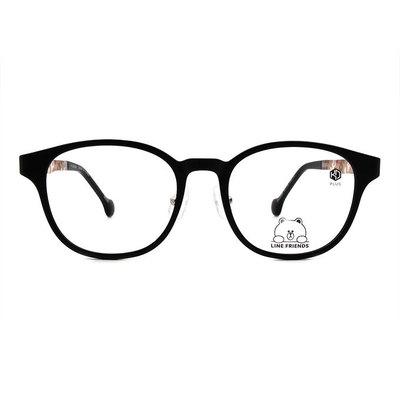 K-DESIGN | LINE FRIENDS◆百搭威靈頓框眼鏡-霧黑/暗紅滿愛(熊大銀鑄)
