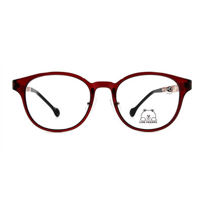 K-DESIGN | LINE FRIENDS◆百搭威靈頓框眼鏡-氣質酒紅(熊大銀鑄)