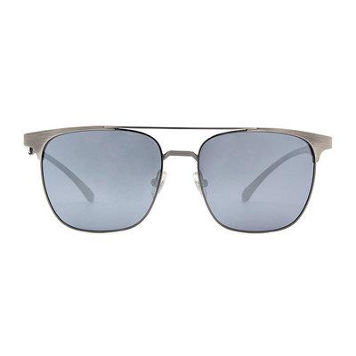 HORIEN 鋼質極簡雙甲眉架方框墨鏡 ♦霧蒼銀