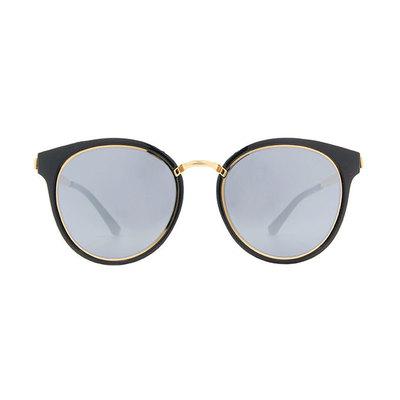 HORIEN 時尚簡約寬版貓眼框墨鏡 ♦金緻黑