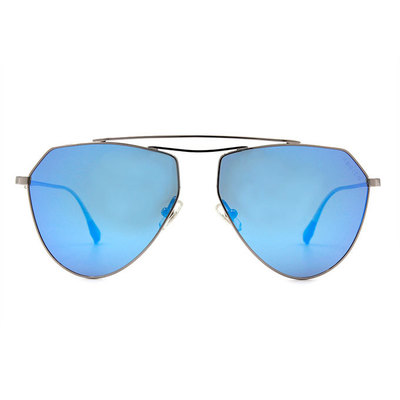 HORIEN 簡潮輕薄款墨鏡飛官框墨鏡 ♦銀鏡藍