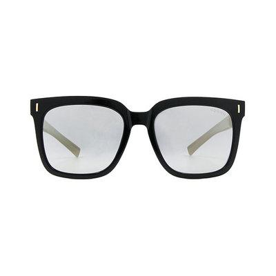 HORIEN 都會潮男寬版雙色方框墨鏡 ♦金質黑