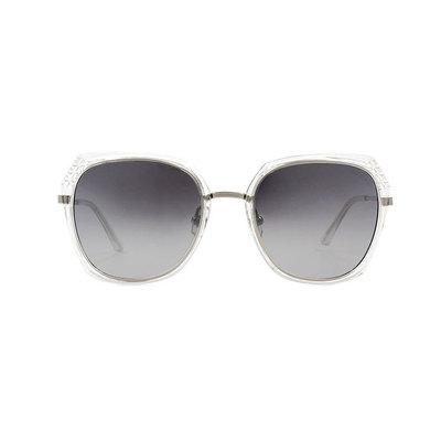 HORIEN 時尚名媛菱格大方框墨鏡 ♦冰晶銀