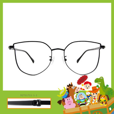 Toy Story × 胡迪橢圓框眼鏡 知性紅心 ◆ 潔淨黑