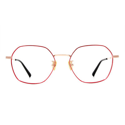 a/p lab▼時尚設計多邊框眼鏡 梅果紅