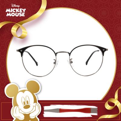 新年好運鼠不盡 l 米奇陪你看世界 圓型眉框眼鏡▶炭晶黑